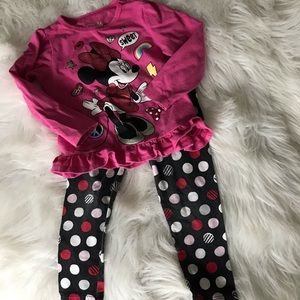 Minnie top and polka dot leggings